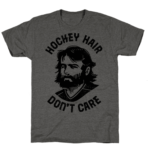 Hockey Hair Don't Care Mens T-Shirt
