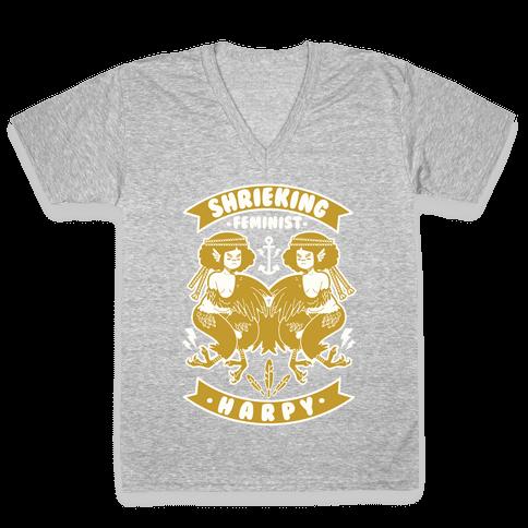 Shrieking Feminist Harpy V-Neck Tee Shirt