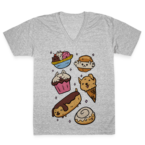 Kawaii Food Dogs V-Neck Tee Shirt
