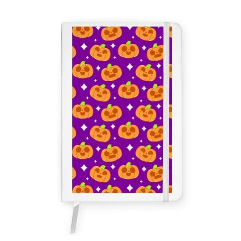 Kawaii Pumpkins Pattern Orange Notebook