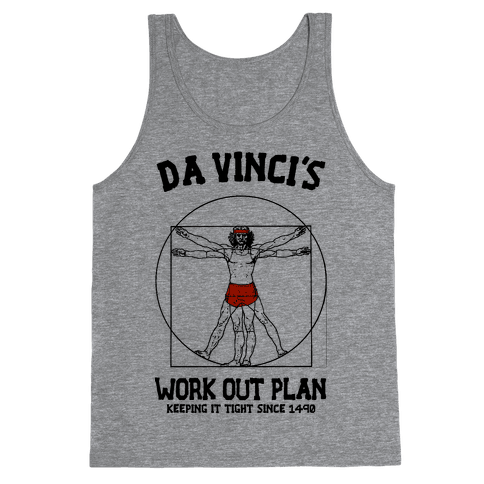 Da Vinci's Work Out Plan (red) Tank Top
