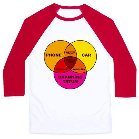Channing Tatum Venn Diagram Baseball Tee