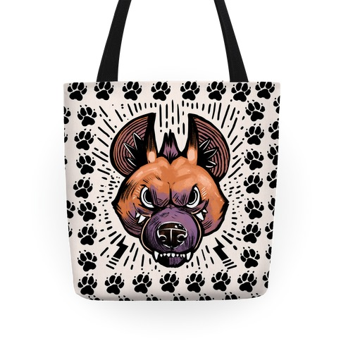 Snarling Hyena Pillow Tote