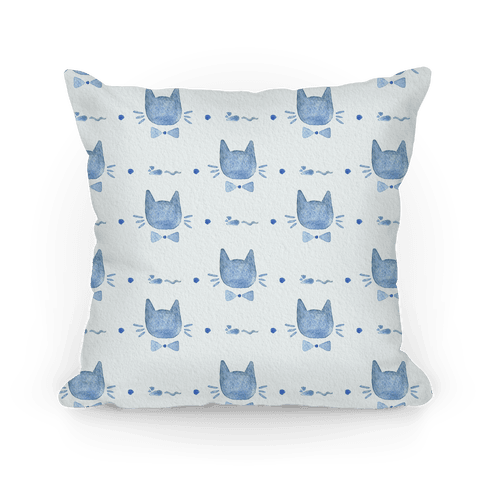 Blue Watercolor Cat Bow Tie Pattern Pillow
