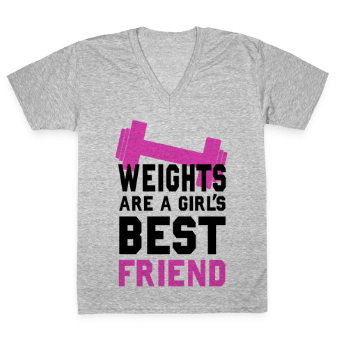 Weights are a Girls Best Friend V-Neck Tee Shirt