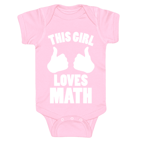 This Girl Loves Math (White Ink) Baby Onesy