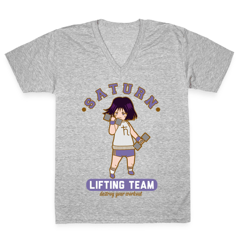 Saturn Lifting Team Parody V-Neck Tee Shirt