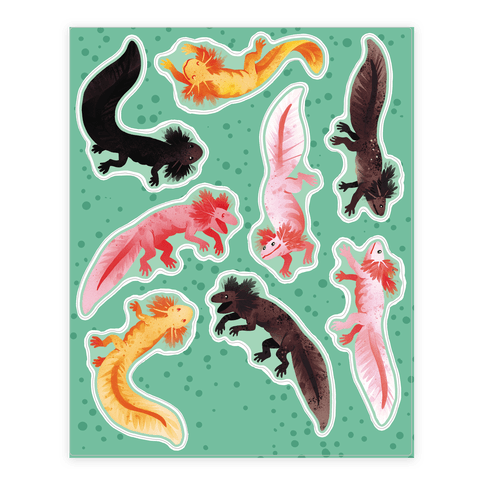 Cute Bright Axolotl  Sticker/Decal Sheet