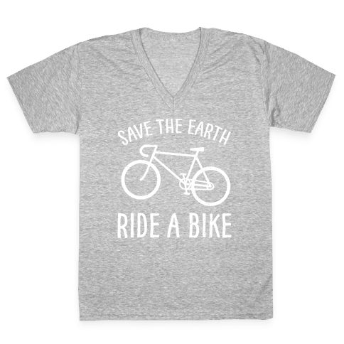 Save The Earth Ride A Bike V-Neck Tee Shirt