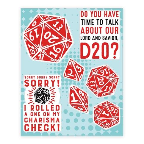 D20  Sticker/Decal Sheet