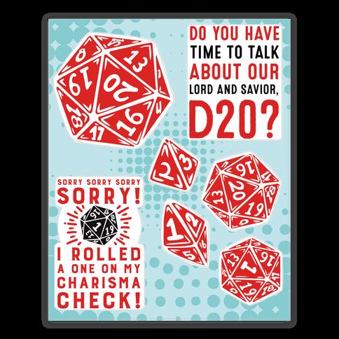 D20 Sticker and Decal Sheet