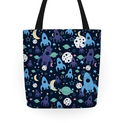 Rocket Space Pattern Tote