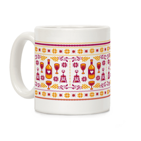 Ugly Wine Christmas Sweater Pattern Coffee Mug
