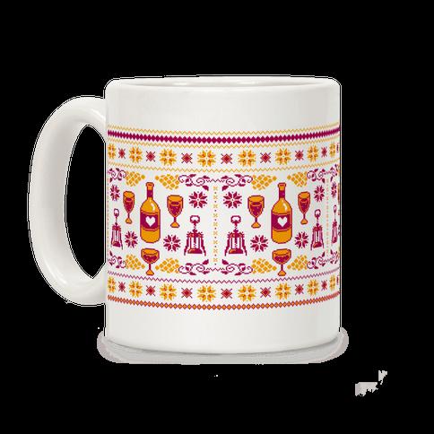 Ugly Wine Christmas Sweater Pattern Coffee Mug