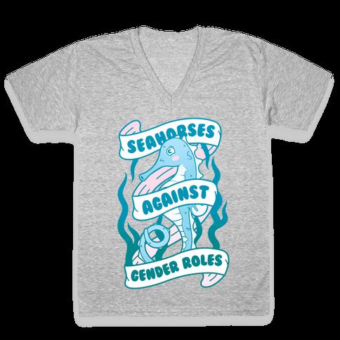 Seahorses Against Gender Roles V-Neck Tee Shirt