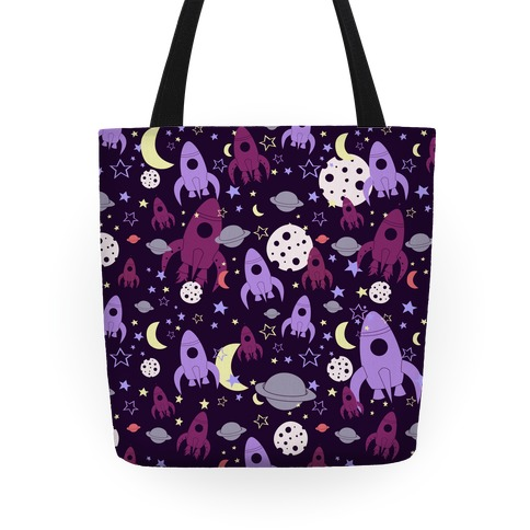 Rocket Space Pattern (Purple) Tote