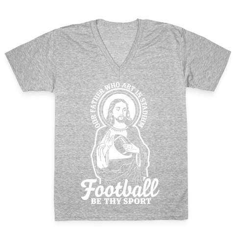 Football Jesus V-Neck Tee Shirt