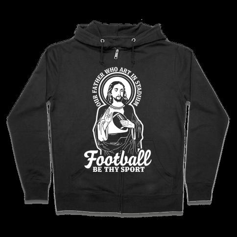 Football Jesus Zip Hoodie