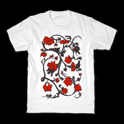 Little Red Riding Hood & Wolf Floral Pattern Kids T-Shirt