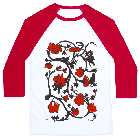 Little Red Riding Hood & Wolf Floral Pattern Baseball Tee