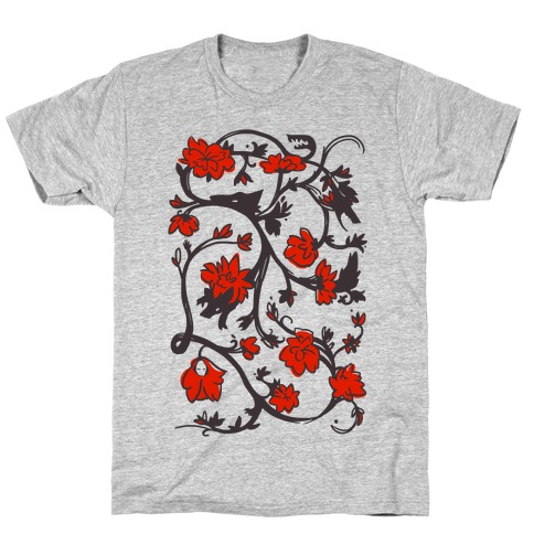 Little Red Riding Hood & Wolf Floral Pattern T-Shirt