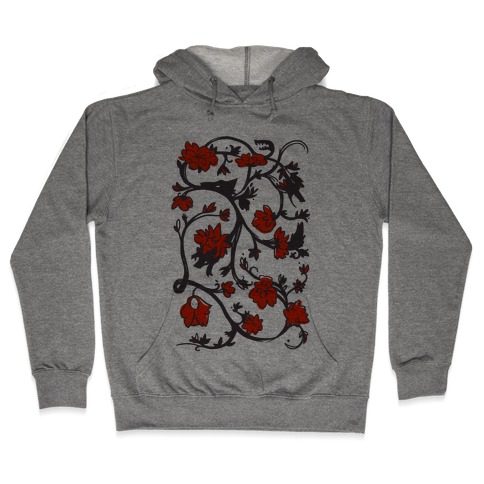 Little Red Riding Hood & Wolf Floral Pattern Hooded Sweatshirt