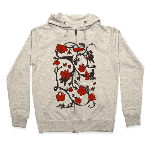 Little Red Riding Hood & Wolf Floral Pattern Zip Hoodie