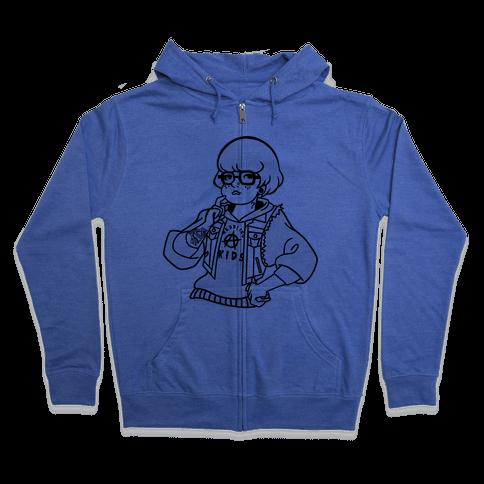 Punk Rock Parody Velma Zip Hoodie