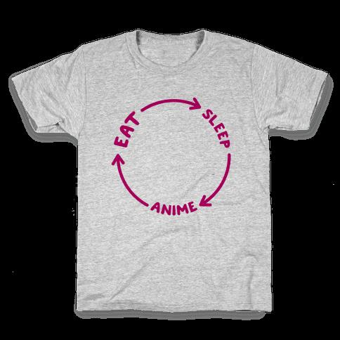 Eat Sleep Anime Repeat Kids T-Shirt