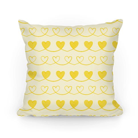 Yellow Heart Doodle Pattern Pillow