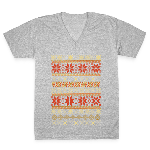 Merry Pizza V-Neck Tee Shirt
