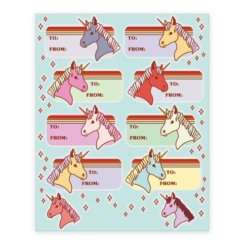 Rainbow Unicorn Gift Tag Sticker and Decal Sheet