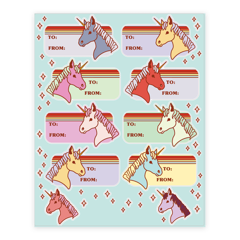 Rainbow Unicorn Gift Tag  Sticker/Decal Sheet