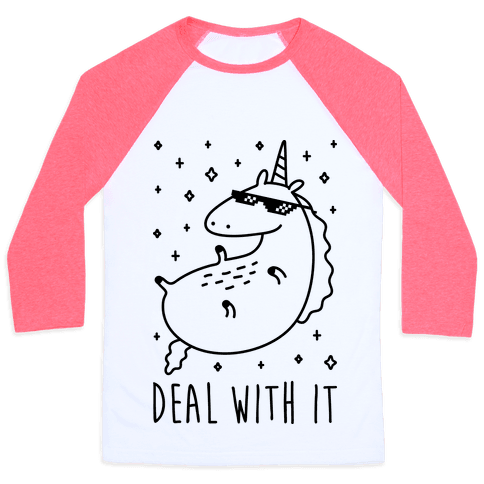 Deal With It Unicorn Baseball Tee