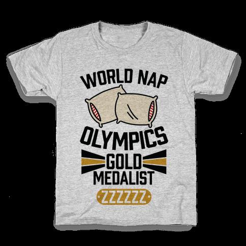World Nap Olympics Gold Medalist Kids T-Shirt