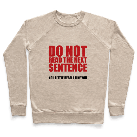 Do Not Read The Next Sentence Pullover