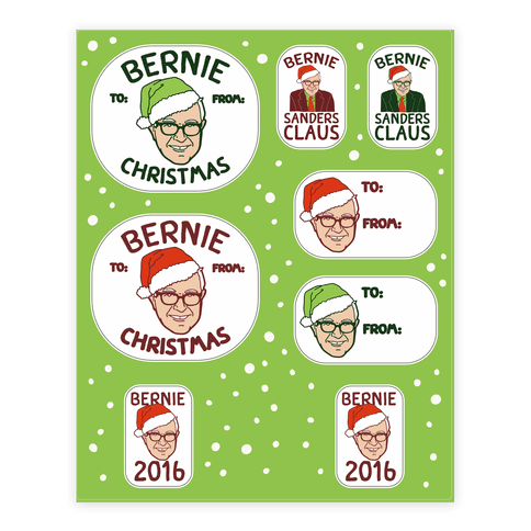 Bernie Sanders Claus Gift Tag Sticker and Decal Sheet