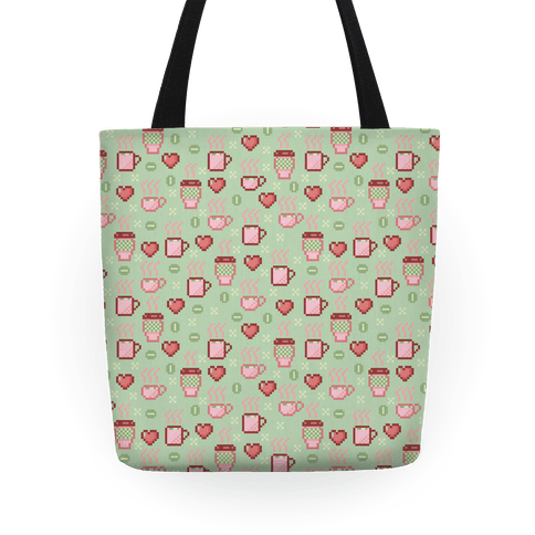 Pastel Coffee Pixel Art Pattern Tote