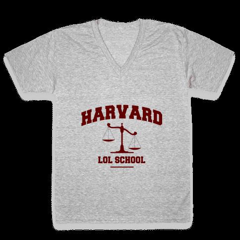 Harvard LOL School V-Neck Tee Shirt