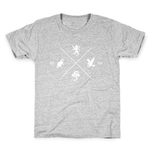 Hogwarts Minimal Crest (Distressed) Kids T-Shirt