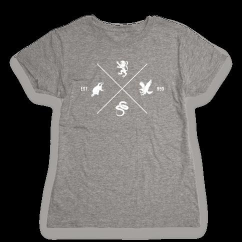 Hogwarts Minimal Crest (Distressed) Womens T-Shirt