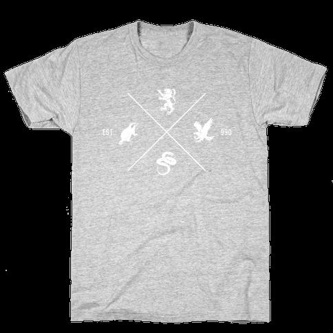 Hogwarts Minimal Crest (Distressed) Mens T-Shirt