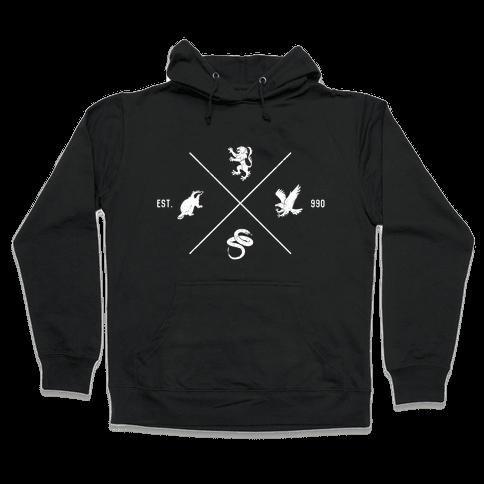 Hogwarts Minimal Crest (Distressed) Hooded Sweatshirt