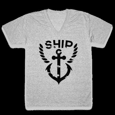 Ship Mates Glo (ship) V-Neck Tee Shirt