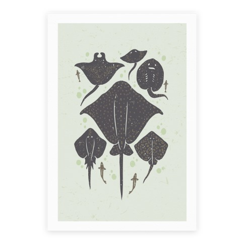 Family Of Stingrays Poster