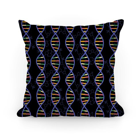 DNA Strands and Molecular Structure Pattern Pillow
