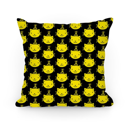 Cat Party Pattern Pillow (Yellow On Black) Pillow