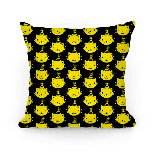 Cat Party Pattern Pillow (Yellow On Black)