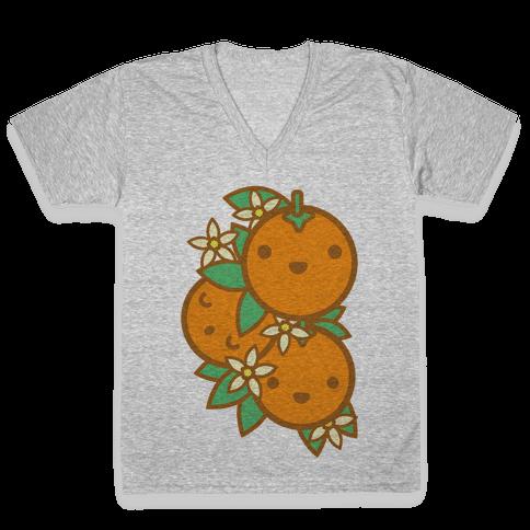 Kawaii Oranges V-Neck Tee Shirt
