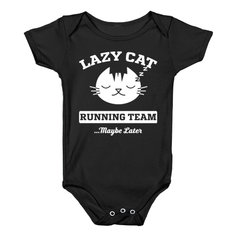 Lazy Cat Running Team Baby Onesy